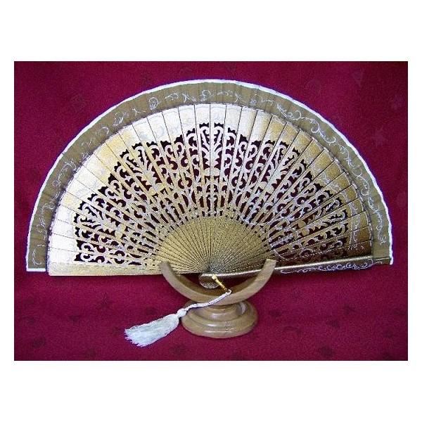 wooden hand fan 9999 gold